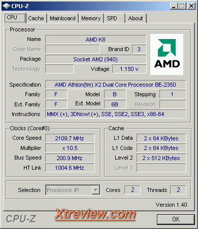 AMD Athlon X2 BE -2350 : cpuz