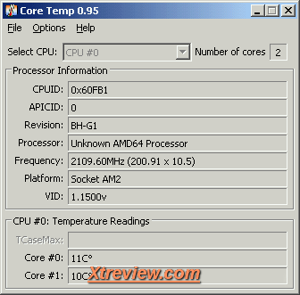 AMD Athlon X2 BE -2350 : core temp