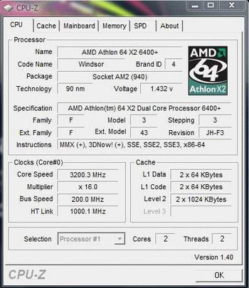 Athlon 64 X2 6400+ cpuz screen shot