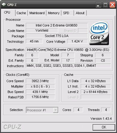 Intel core 2 Extreme QX9650 cpu-z