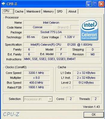 Celeron E1200 overclocked @ 3.2 GHz