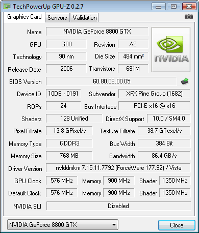 XFX geForce 8800 GTX 768 Mb Gpu-z