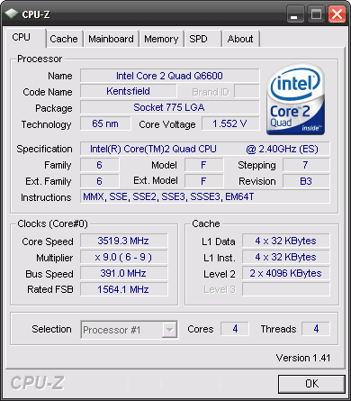 Core 2 quad q6600 @ 3.5 GHZ cpu-z