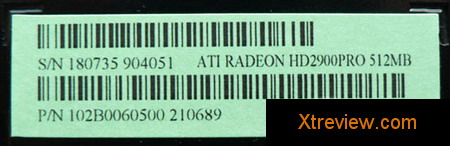 HIS radeon HD 2900 Pro 512 Mb serial number