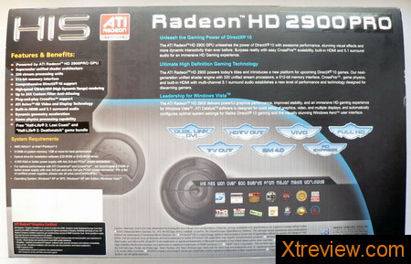 HIS radeon HD 2900 Pro 512 Mb box back side