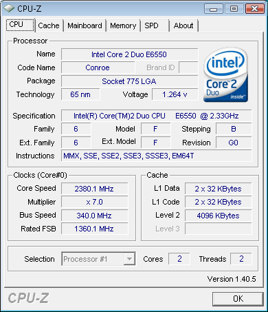 intel core 2 Duo e6550 : CPUZ default