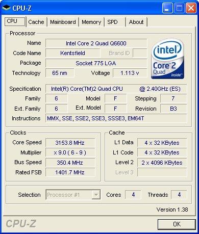 INTEL Core 2 Quad Q6600 - overclocking - 3.15 GHz