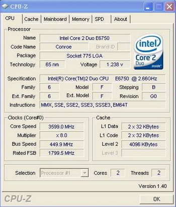 Intel Core 2 Duo E6750 - overclocking