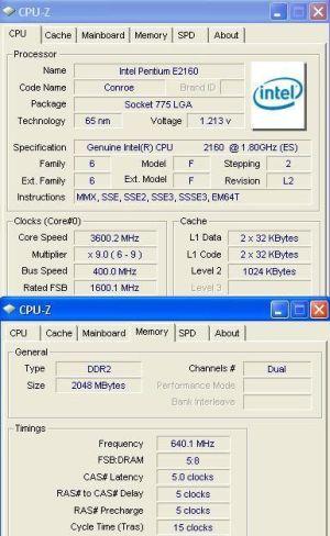 Pentium e2160 @ 3600 mhz