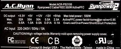 A.C. Ryan Ryanpower2 CableFree ACR-PS2100 (550W)