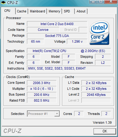Core 2 Duo e4400 - cpu z