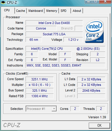 Core 2 Duo e4400 - overclocking @ 3251 mhz