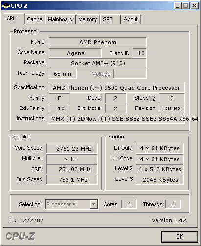 Phenom 9500 overclock result