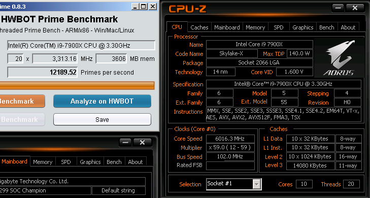 ten-core core i9-7900x has distinguished itself in hwbot