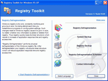 Registry Defragmentation v.9.1 Build 3.23