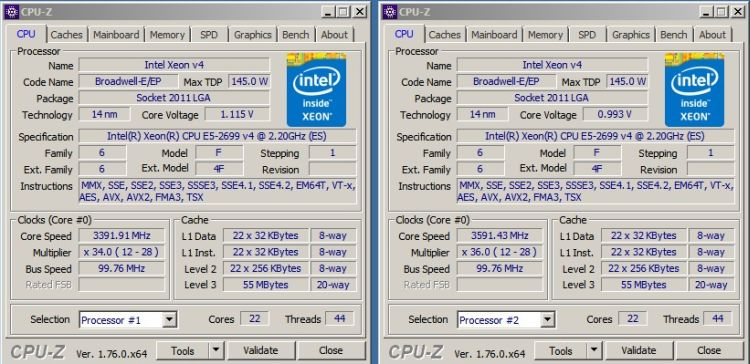 22-core xeon processors broadwell-ep overclocked to 3670 mhz