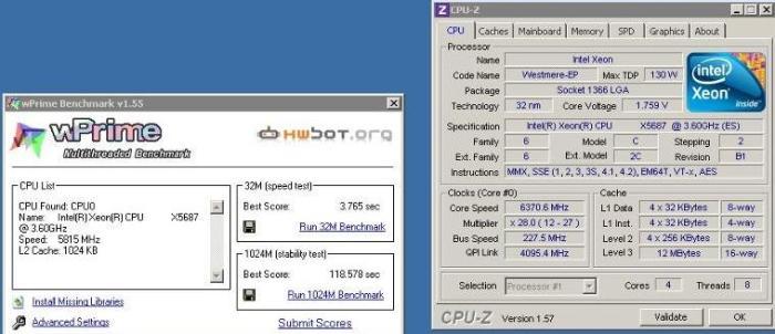 intel xeon x5687 new record in wprime 1024